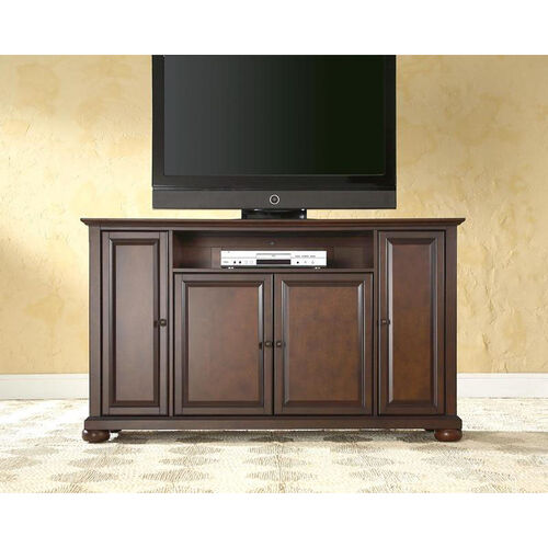 59.75''W TV Stand in Vintage Mahogany Finish with Alexandria Style Feet