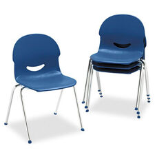 Virco® IQ Series Stack Chair - 17-1/2'' Seat Height - Navy/Chrome - 4/Carton