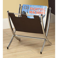 Faux Leather and Chrome 15''H Magazine Rack - Dark Brown