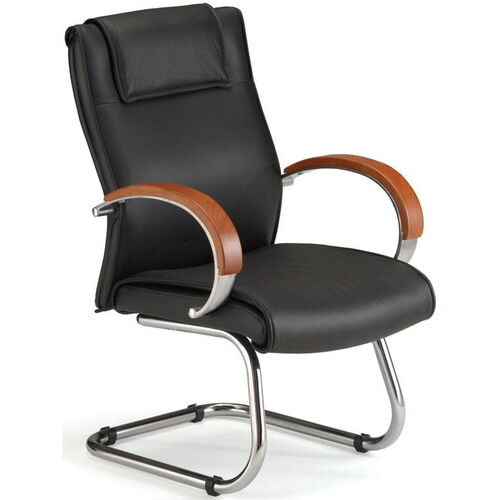 Apex Leather Executive Mid-Back Guest Chair with Cherry Finish - Black