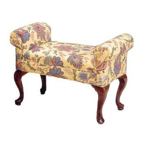505 Armed Bench w/ Upholstered Web Seat & Queen Anne Legs - Grade 2