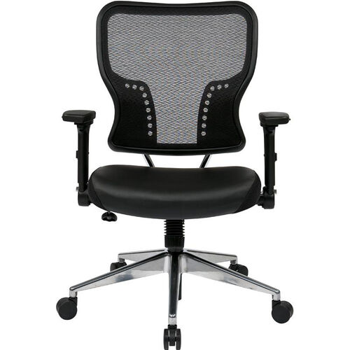 Space Air Grid Back and Padded Bonded Leather Seat Task Chair with 4-Way Adjustable Padded Flip Arms - Black