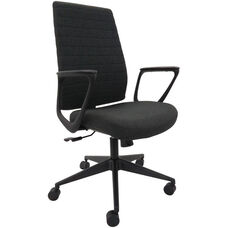Frasso 25.2'' W x 19.5'' D x 41'' H Adjustable Height Mid Back Fabric Loop Arm Office Chair - Coal