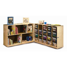 20 Tray Fold and Roll Cabinet with 20 Clear Trays and Heavy Duty Casters