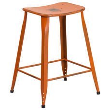 24'' High Distressed Orange Metal Indoor-Outdoor Counter Height Saddle Comfort Stool
