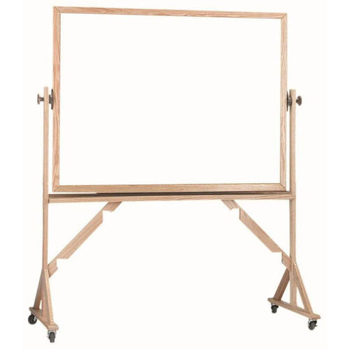 Reversible Free Standing Melamine White Marker Board with Red Oak Frame - 42''H x 60''W