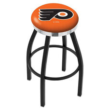 Philadelphia Flyers 25'' Black Wrinkle Finish Swivel Backless Counter Height Stool with Chrome Accent Ring