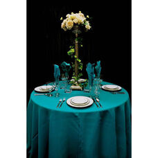 102'' Renaissance Stain Resistant Series Round Tablecloth - Teal