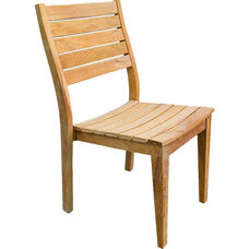 Vegas Natural Unfinished Weathered Stackable Plantation Teak Side Chair