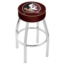 Florida State University 25'' Chrome Finish Swivel Backless Counter Height Stool with 4'' Thick Seat