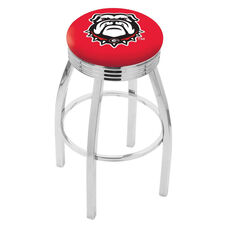 University of Georgia 25'' Chrome Finish Swivel Backless Counter Height Stool with 2.5'' Ribbed Accent Ring