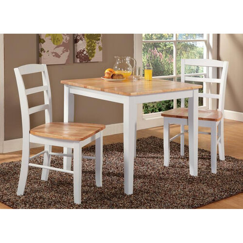 Shaker Style Solid Wood 3 Piece Dining Table with 2 Ladder Back Dining Chairs - White and Natural