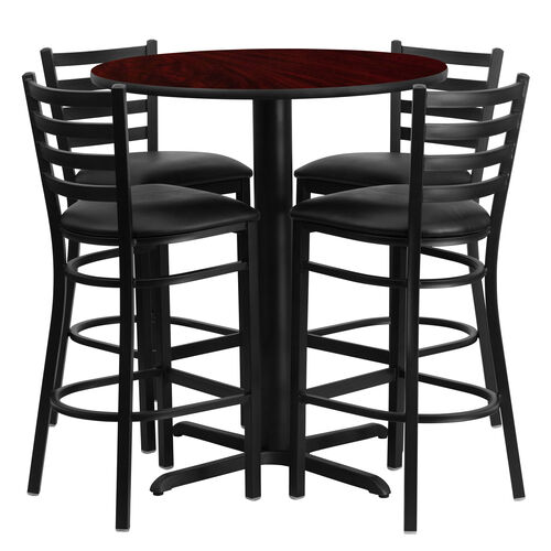 30'' Round Mahogany Laminate Table Set with Ladder Back Metal Barstool and Black Vinyl Seat, Seats 4