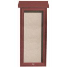 Rosewood Slimline Series Top Hinged Single Door Plastic Lumber Message Center with Vinyl Surface - 34''H x 16''W