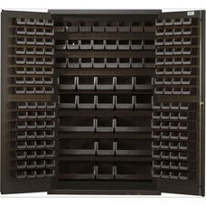All-Welded Storage Cabinet with 171 Bins - Black