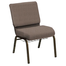 HERCULES Series 21''W Church Chair in Shire Woodstock Fabric with Book Rack - Gold Vein Frame