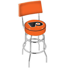 Philadelphia Flyers 25'' Chrome Finish Swivel Counter Height Stool with Double Ring Base