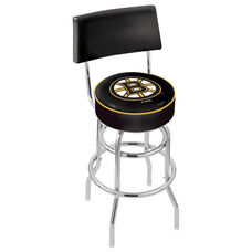 Boston Bruins 25'' Chrome Finish Swivel Counter Height Stool with Double Ring Base