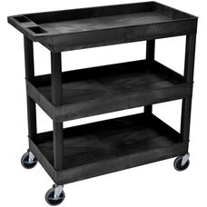 Molded Thermoplastic Resin 3 Tub Shelf Cart with 4'' Casters and Tub Top Shelf - Black - 35.25''W x 18''D x 36.25''H