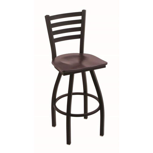 Jackie 25'' Black Wrinkle Finish Counter Height Swivel Stool with Dark Cherry Maple Wood Seat