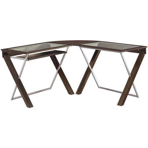 OSP Designs X-Text L-Shaped Computer Desk with Glass Top and Keyboard Tray - Espresso