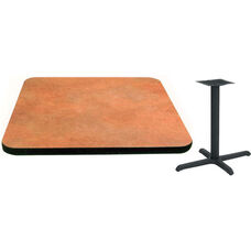 36'' Square Laminate Table Top with Vinyl T-Mold Edge and Base - Standard Height