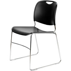 4800 Series Quick Ship Stackable Chair with Polished Chrome Frame - Black