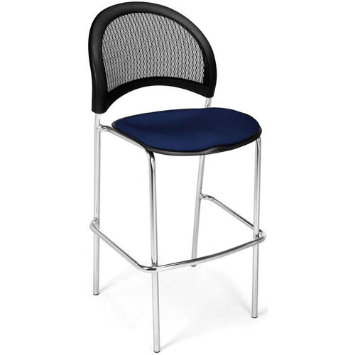 Moon Cafe Height Chair with Fabric Seat and Chrome Frame - Navy