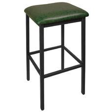 Trent Backless Black Barstool - Green Vinyl Seat