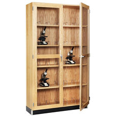 Science Lab 20 Microscope Wooden Storage Case with Locking Tempered Glass Doors - 36''W x 16''D x 84''H