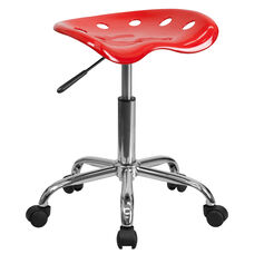 Vibrant Red Tractor Seat and Chrome Stool
