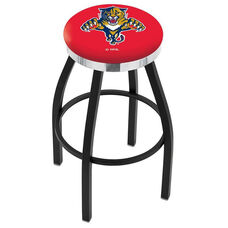 Florida Panthers 25'' Black Wrinkle Finish Swivel Backless Counter Height Stool with Chrome Accent Ring