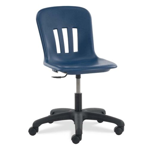 Quick Ship Metaphor Series Task Chair with Navy Polypropylene Seat and Black Base - 24.13''W x 24.13''D x 28''H - 32.5''H