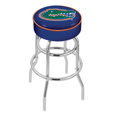 University of Florida 25'' Chrome Finish Double Ring Swivel Backless Counter Height Stool with 4'' Thick Seat