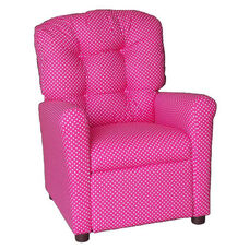 Kids Recliner with Button Tufted Back - Dottie Pink