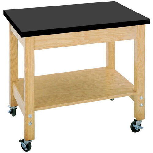 Mobile Science Lab Demonstration Cart with 1.25'' Thick Black ChemGuard Top - 36''W x 24''D x 30''H