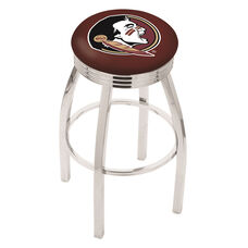 Florida State University 25'' Chrome Finish Swivel Backless Counter Height Stool with 2.5'' Ribbed Accent Ring