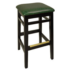 Trevor Black Wood Backless Barstool - Green Vinyl Seat