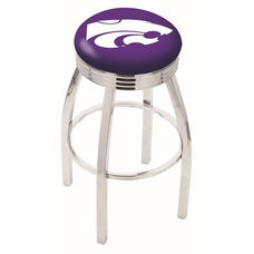 Kansas State University 25'' Chrome Finish Swivel Backless Counter Height Stool with 2.5'' Ribbed Accent Ring