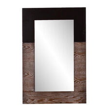 Wagars Modern 24''W x 36''H Wall Mirror with Burnt Oak Wood Grain - Black