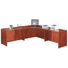 Cherry 42''W Corner Desk Unit with Wings and Pedestals