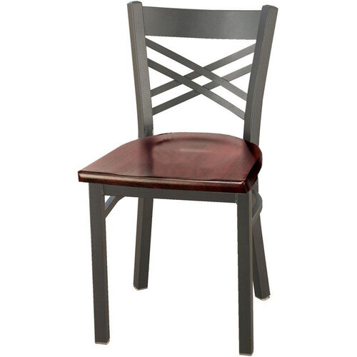 3300 Series Square Steel Frame Armless Cafe Chair with Contoured X-Shaped Back and Wood Seat