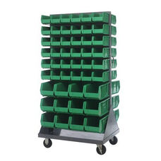 36''L x 25''W x 72''H Mobile Double Sided Louvered Rack Unit with 96 Bins - Green