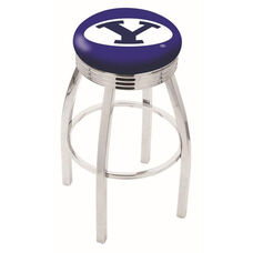 Brigham Young University 25'' Chrome Finish Swivel Backless Counter Height Stool with 2.5'' Ribbed Accent Ring