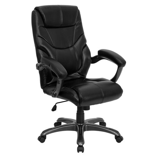 High Back Black Leather Overstuffed Executive Swivel Chair with Arms