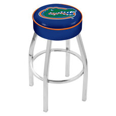 University of Florida 25'' Chrome Finish Swivel Backless Counter Height Stool with 4'' Thick Seat