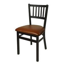 Troy Metal Slat Back Chair - Light Brown Vinyl Seat