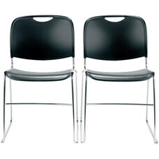 4800 Series Quick Ship Stackable Chair with Polished Chrome Frame - Black - Set of Two
