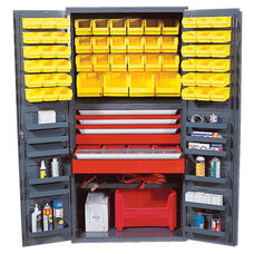 All-Welded Storage Bin Cabinet with 58 Bins - Yellow