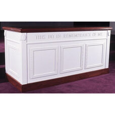 Red Oak Colonial Finish Closed Communion Table with Raised Bevel Panels